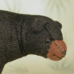 "3"" Fabric Black Bear  Soft Sculpture Miniature"