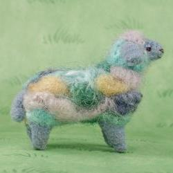 Miniature art sheep SANDY made from hand dyed wool
